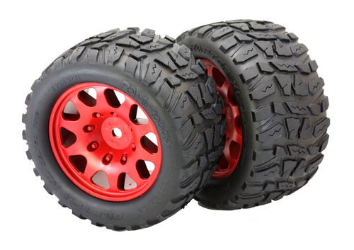 Powerhobby Raptor XL Belted Tires / Viper Wheels (2) Traxxas X-Maxx 8S-Red