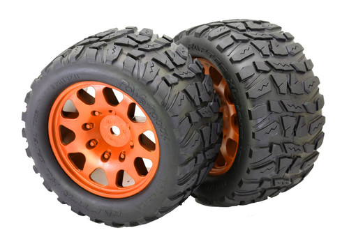 Powerhobby Raptor XL Belted Tires / Viper Wheels (2) Traxxas X-Maxx 8S-Orange