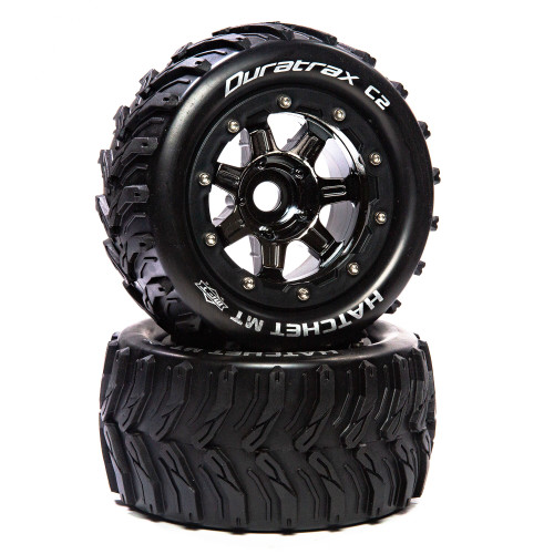 Duratrax 5533 Lockup ST Belted 2.8 2WD Mounted Rear Tires Black 2 .5 Offset