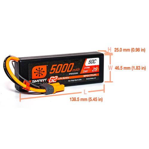 Spektrum 5000mAh 2S 7.4V Smart Battery G2 50C IC5