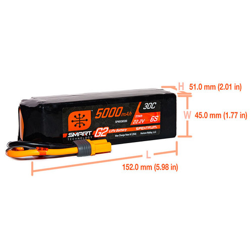 Spektrum 5000mAh 6S 22.2V Smart Battery G2 30C IC5