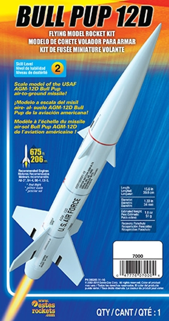 Estes Bull Pup 12D Model Rocket Kit, Skill Level 2