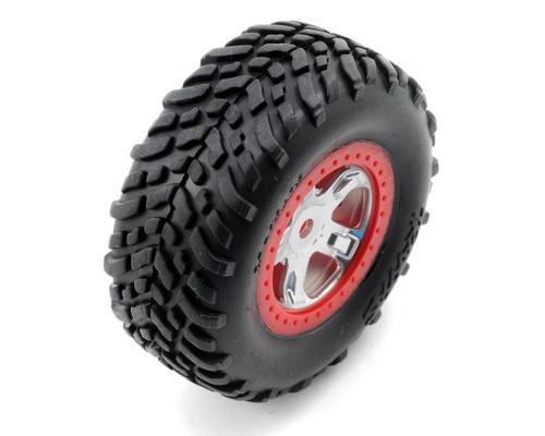 Traxxas 7073A SCT Pre-Mounted Tires & Wheels w/Red Beadlock (Satin Chrome) (2)