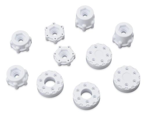 "JConcepts Krimson Dually 2.6"" Dual Truck Wheels w/Adaptors & Covers (White) (2)"