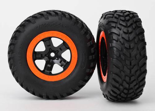 Traxxas Tire/Wheel Assembled Glued S1 Compound SCT Black/Orange (2wd Rear, 4x4 F&R)