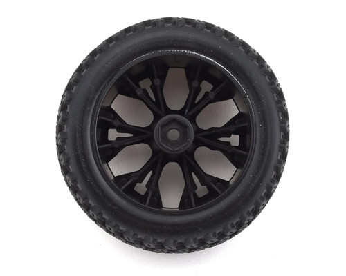 """DuraTrax Picket ST 2.8"""" Mounted Rear Truck Tires (Black) (2) (C2 - Soft) w/ 12mm Hex and 1/2 Offset"""