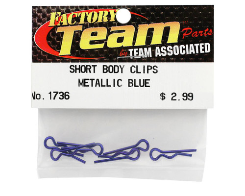 Team Associated 1736 Factory Team Short Metallic Blue Body Clips (6)