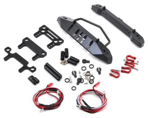 Yeah Racing 0431 Aluminum SCX10 Front & Rear Bumper Set w/Heavy Duty Shackle & LEDs