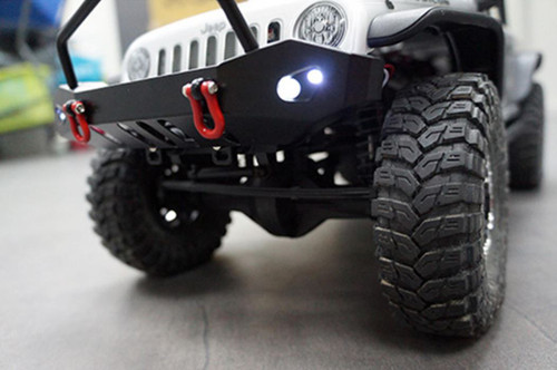 Yeah Racing 0431 Aluminum SCX10 Front & Rear Bumper Set w/Heavy Duty Shackle & LEDs