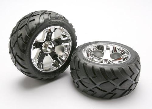 Traxxas Anaconda Tires w/All-Star Rear Wheels (2) (Jato) (Chrome) (Standard)