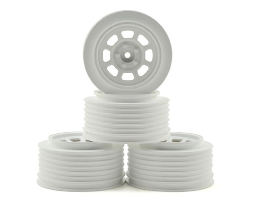 DE Racing Speedway SC Short Course Wheels (White) (4) (21.5mm Backspace) Slash Rear w/12mm Hex