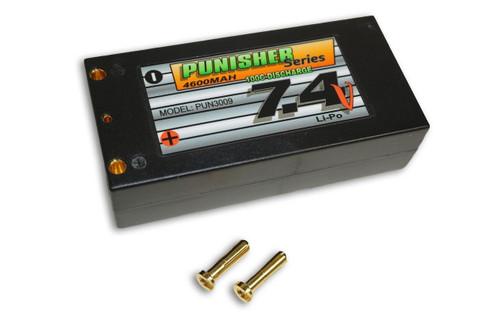 """Punisher Series """"Shorty Pack"""" 4600mah 100C 2cell Lipo (4mm Bullet) 7.4V Battery"""