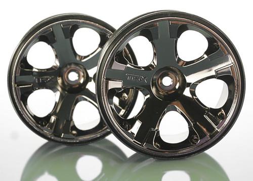 "Traxxas 12mm Hex All-Star 2.8"" Rear Wheels (2) (Jato, Jato 3.3) (Black Chrome) Rustler, Stampede 4x4"