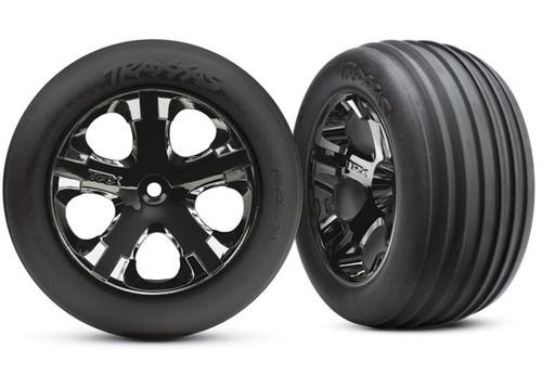 Traxxas Alias Front Tires w/All-Star Wheels (2) (Black Chrome) (Standard) Rustler