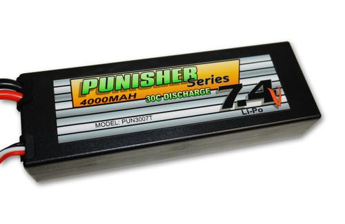 Punisher Series 4000mah 30C 2cell Lipo (Traxxas Plug) 7.4V Battery