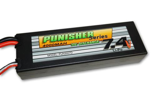 Punisher Series 4000mah 30C 2cell Lipo (Deans Plug) 7.4V Battery