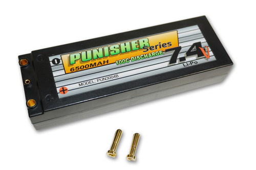 Punisher Series 6500mah 100C 2cell Lipo (4mm Bullet) 7.4V Battery