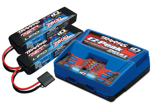 "Traxxas EZ-Peak 2S ""Completer Pack"" Dual Multi-Chemistry Battery Charger w/Two Power Cell 2S Batteries (7600mAh)"