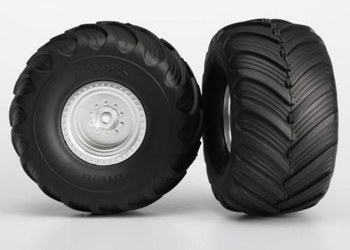 Traxxas Monster Jam Replica Pre-Mounted Rear Tires (2) (Silver)