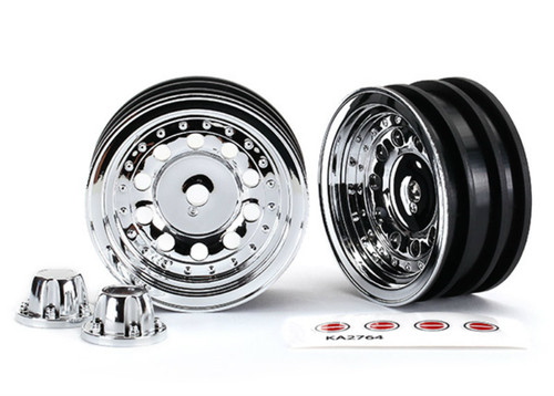 """Traxxas 1.9"""" Chrome Wheels w/Center Caps (2) (requires #8255A Extended Stub Axle)"""