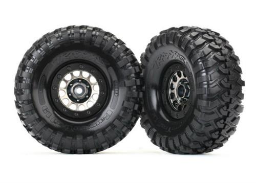 """Traxxas 1.9"""" Canyon Trail Tire3s/Method 105 Black Chrome Wheels, Mounted"""