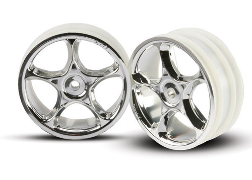 """Traxxas 2473 2.2"""" Bandit Front Tracer Buggy Wheels (2) (Chrome) (Not Hex)"""