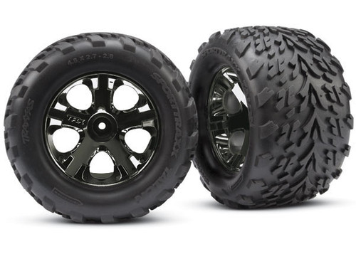 Traxxas 3669A Talon Front Tires w/All-Star Wheels (2) (Black Chrome)