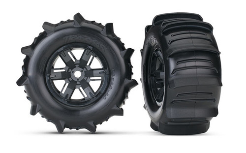 Traxxas 7773 X-Maxx Pre-Mounted Paddle Tires & Wheels (2)
