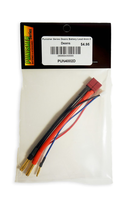 Punisher Series Deans Battery Lead 4mm Bullets