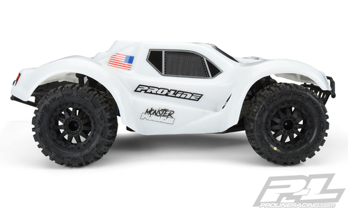 "Pro-Line Slash Monster Fusion Bash Armor Pre-Cut Monster Truck Body (White) (For use with 2.8"" MT Tires)"