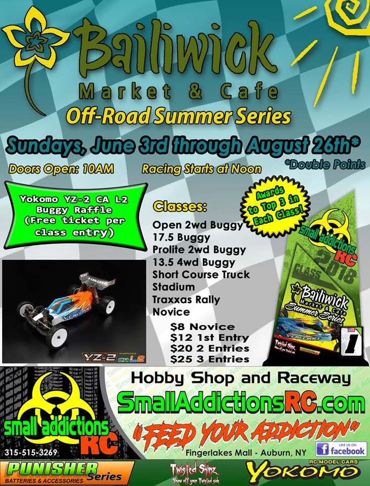 Small Addictions RC summer series sponsored by Bailiwick Market and Cafe and Yokomo!