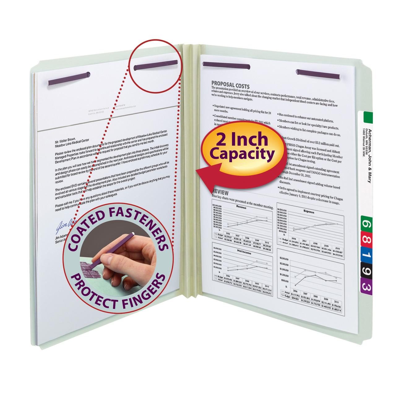 TAB Pressboard Fastener Folder 2 Expansion 2 Fasteners Top Tab Letter Size 25//Box