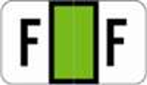 POS Alphabetic Labels - 2000 Series (Sheets for binder) - Letter -  F- Green - 240 Labels Per Pack