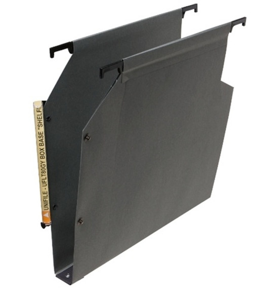 """Unifile Legal Size Hanging Compartment - 30 mm Box-Base Provides a 1"""" Expansion - Gray - Box of 25"""