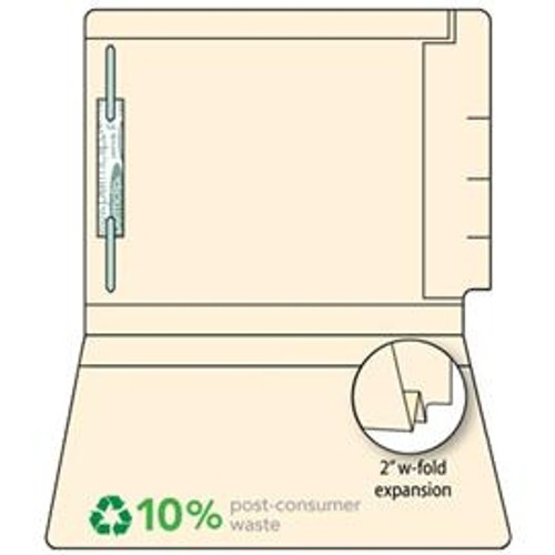 "End Tab File Folder with 2"" W-Fold Expansion - 14 Pt. Manila - Fasteners in Position 1 only (Comparable to Ames); 150 Carton"
