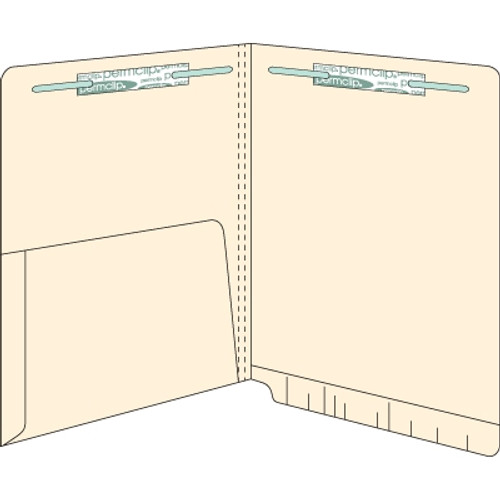 End Tab Pocket Folders - 14 pt - Manila - Letter Size - 1/2 Pocket Inside - 2 Fasteners