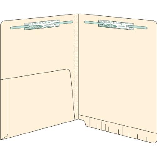 End Tab Pocket Folders - 14 pt - Manila - Letter Size - 1/2 Pocket Inside - 2 Fasteners