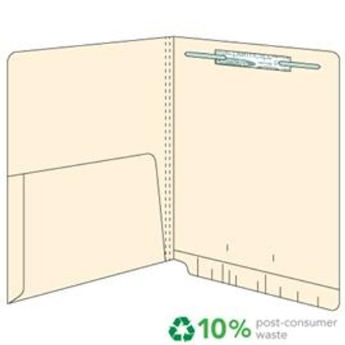 End Tab Pocket Folders - 14 pt.  Manila - Letter Size - 1/2 Pocket Inside - Permclip Fastener in Position 1- 50/Box