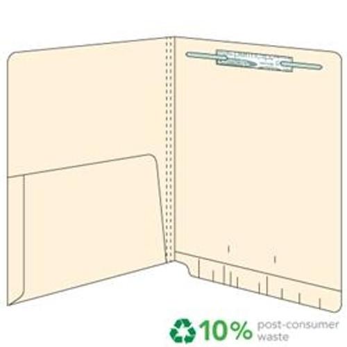 End Tab Pocket Folders - 14 pt.  Manila - Letter Size - 1/2 Pocket Inside - Permclip Fastener in Position 1- 50/Box