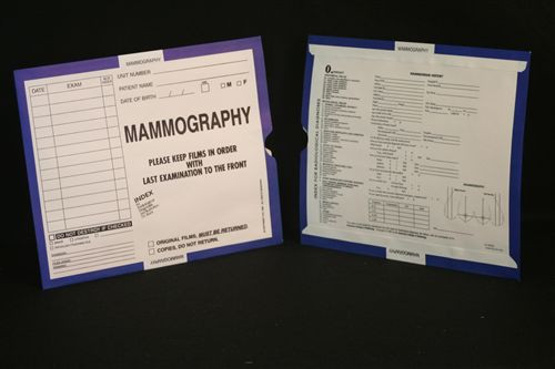 Medical Folder Mini Category Insert Jackets.  Open End.  250 Inserts per Carton. Category- Mammography 1