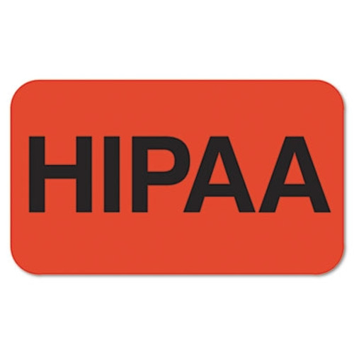 Medical Labels for HIPPA, 7/8 x 1-1/2, Fl. Red, 250/Roll