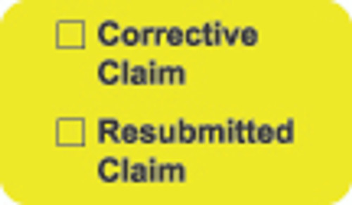 """""""Corrective Claim / Resubmitted Claim"""" Label - Fl. Chartreuse - 1 1/2"""" x 7/8"""" - Box of 250"""