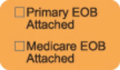 """Primary EOB/Medicare EOB Attached"" Label - Fl. Orange - 1 1/2"" x 7/8"" - Box of 250"