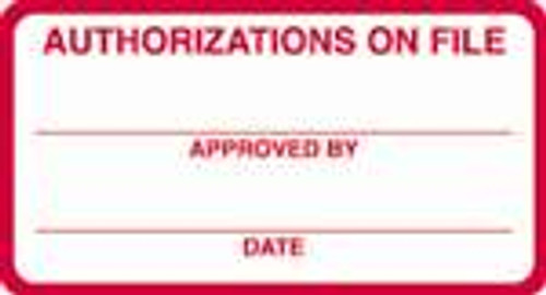 Authorizations On File Label 1