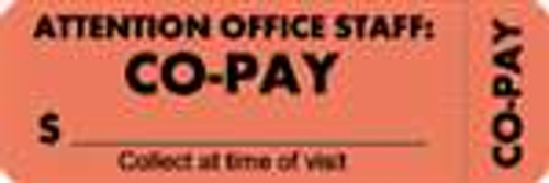 """Attention Office Staff: Co-Pay"" Label 6- Fl. Red - 3"" x 1"" - Box of 250"