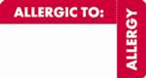 """""""Allergic To"""" - Wrap Around Label - Red/White - 3 1/4"""" x 1 3/4"""" - Roll of 250"""
