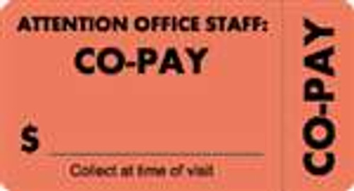 """""""Attention Office Staff: Co-Pay"""" Label 5 - Fl. Red - 3 1/4"""" x 1 3/4"""" - Box of 250"""