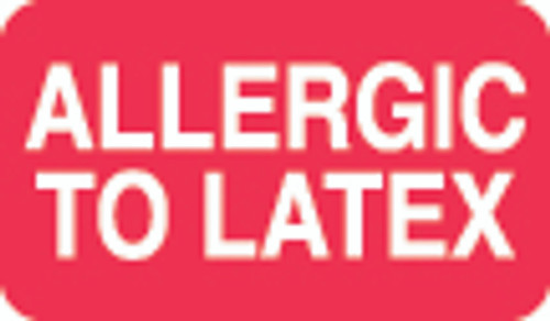 """Allergic To Latex"" Label - 1-1/2"" x 7/8"" - Red/White - 250/Box"