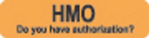 """HMO"" Label - Fl. Orange - 1 1/4"" x 5/16"" - Box of 500"