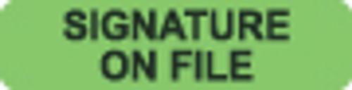 """Signature On File"" Label - Fl. Green - 1 1/4"" x 5/16"" - Box of 500"